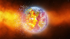 Earth burning or exploding after a global disaster, Apocalypse asteroid impact globe. Stock Photography
