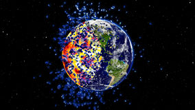 Earth burning or exploding after a global disaster, Apocalypse asteroid impact globe. (Elements of this 3d rendered image furnished by NASA Stock Photos