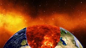 Earth burning or exploding after a global disaster, Apocalypse asteroid impact globe. Royalty Free Stock Images