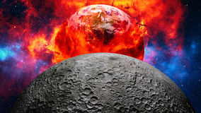 Earth burning or exploding after a global disaster, apocalyptic scenario. Royalty Free Stock Photo