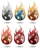 Earth burning recycled paper Stock Photos