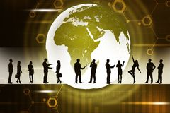 Earth and business people silhouettes Stock Photos