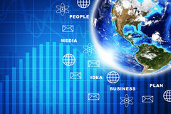 Earth with business symbols Stock Photos