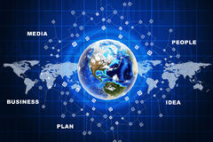 Earth with business words Stock Photography