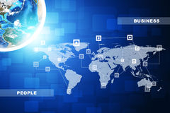 Earth with business words, close up view. Earth with business words on abstract blue background with world map. Elements of this image furnished by NASA Royalty Free Stock Photos