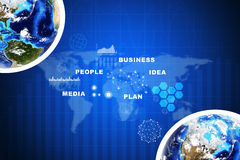 Earth with business words and graphs. Earth with business words on abstract blue background with world map. Elements of this image furnished by NASA Stock Image