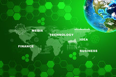 Earth with business words on green. Earth with business words and icons on abstract background with world map. Elements of this image furnished by NASA Royalty Free Stock Photography