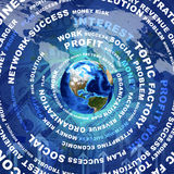 Earth, business words and money. Earth and business words on money background. Elements of this image are furnished by NASA Royalty Free Stock Photo