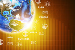 Earth with business words and symbols. On abstract background. Elements of this image furnished by NASA Stock Image