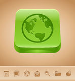 Earth button Stock Image