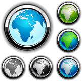 Earth buttons - Africa. Royalty Free Stock Image