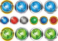 Earth.Buttons in the form of the planet. Set of web buttons with arrows pointing in silver and gold edging. Buttons in vector form Royalty Free Stock Images
