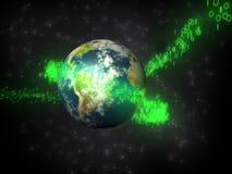 Earth in bytestream. Earth, byte, bytestream, electronic, 3d, megabyte, kilobyte, globe, globus, green, glow, blue, space, stars, motion, object Stock Photography