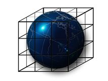Earth in cage. Planet earth imprisoned inside a cage isolated Royalty Free Stock Image
