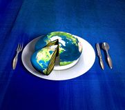 Earth cake - america. Planet Earth cake ready for serving royalty free illustration