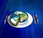 Earth cake - Europe Africa Stock Photo