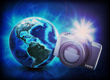 Earth, camera with flashing on abstract background Stock Photo