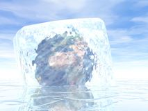 Earth can't move - 3D render. Earth planet imprisoned in an ice cube on water by beautiful day Royalty Free Stock Photos