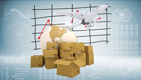 Earth, cardboard boxes and airplane Stock Photography