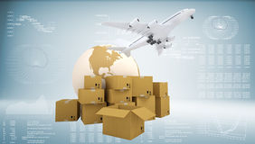Earth, cardboard boxes and airplane Royalty Free Stock Images