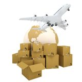 Earth, cardboard boxes and the plane Royalty Free Stock Photography