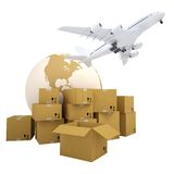 Earth, cardboard boxes and the plane Stock Photos
