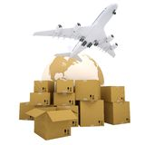 Earth, cardboard boxes and the plane Stock Photography