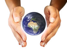Earth care in your hands stock images