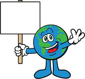 Earth Cartoon Mascot Character Holding A Placard Royalty Free Stock Images