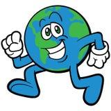 Earth Cartoon Mascot Character Running Royalty Free Stock Photo