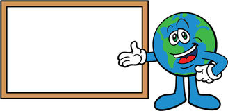 Earth Cartoon Mascot Presenting Stock Photos