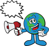 Earth Cartoon Mascot Using Megaphone Stock Image