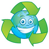 Earth Cartoon with Recycle Symbol Stock Images