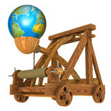 Earth and catapult. Earth (bomb) and catapult (conceptual picture Stock Images