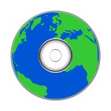 Earth on CD DVD ROM - Earth Day. On white backround Stock Images