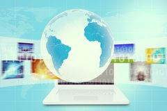 Earth in center above white laptop. And wide virtual tape with pictures on abstract background with world map and numbers. Elements of this image furnished by stock illustration