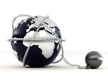 Earth with chain Stock Photo