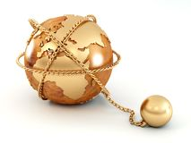 Earth with chain Royalty Free Stock Photo
