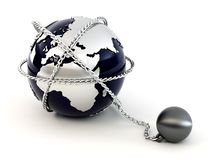 Earth with chain Royalty Free Stock Images
