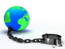 Earth and Chain. Earth and chain on white background Royalty Free Stock Images