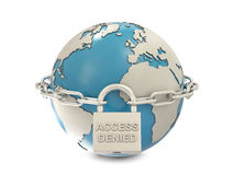 Earth, chain and closed padlock with access denied. Text isolated on white background Royalty Free Stock Photo