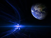 Earth chaos. Earth lit up by blue fireballs