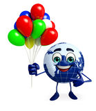 Earth Character with Balloon Stock Photo