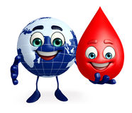 Earth Character with blood drop Stock Image
