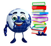 Earth Character with Book pile Stock Image