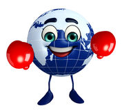 Earth Character with Boxing Gloves Stock Photography