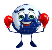 Earth Character with Boxing Gloves Royalty Free Stock Photography