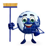 Earth Character with Cleaning mop Stock Photos
