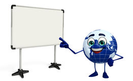 Earth Character with display board Stock Photo