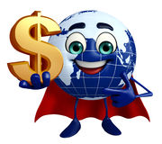 Earth Character with dollar sign Royalty Free Stock Photos